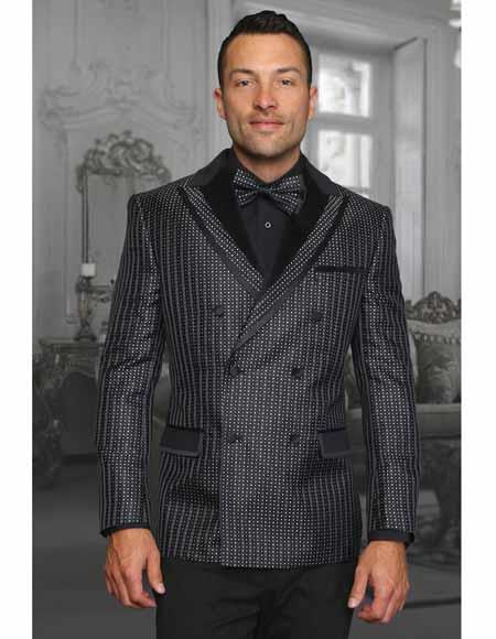 Buy SM2250 Two Toned Men's Black Double Breasted Pin Dot Stage Singer Jacket