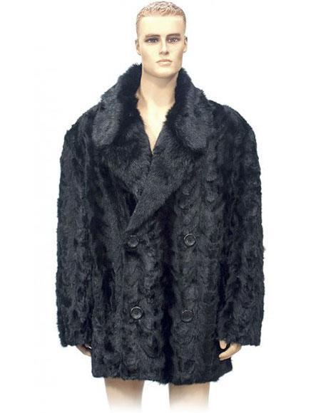 Mens Fur Double Breasted Black Pieces Mink 3/4 Coat Genuine Mink Jacket