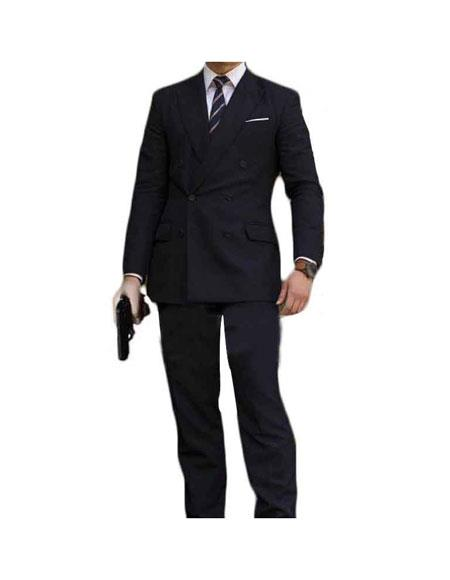 Mens Kingsman Double Breasted Button Closure Black Fully Lined Suit