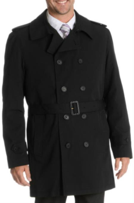 Blu Martini Button Up Double Breasted Rain Coat Black