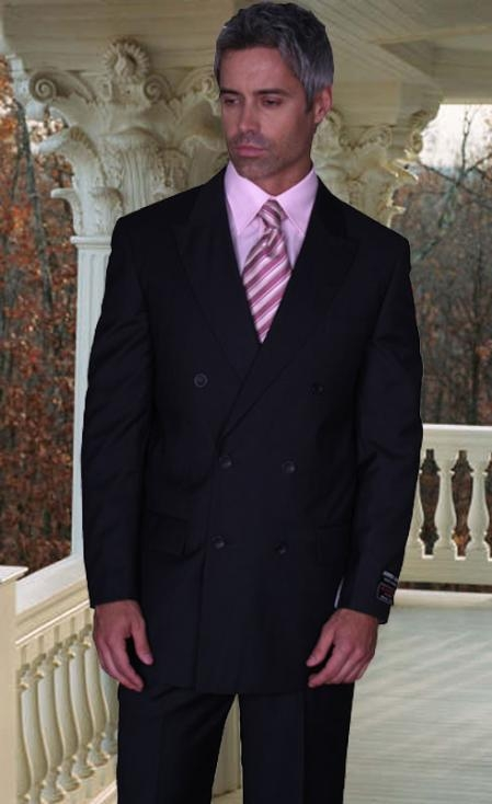 SKU# ASA165 JPR-27 CLASSIC DOUBLE BREASTED SOLID COLOR BLACK MENS SUIT