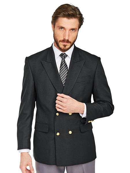 Slim Fit 4 buttons Style Men's Double Breasted Suits Jacket Wool Fabric Blazer Sport Coat in Black or Navy Blue