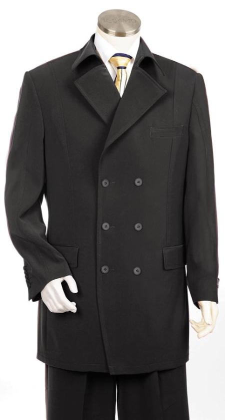 SKU#UH7935 Mens Double breasted Suit Black