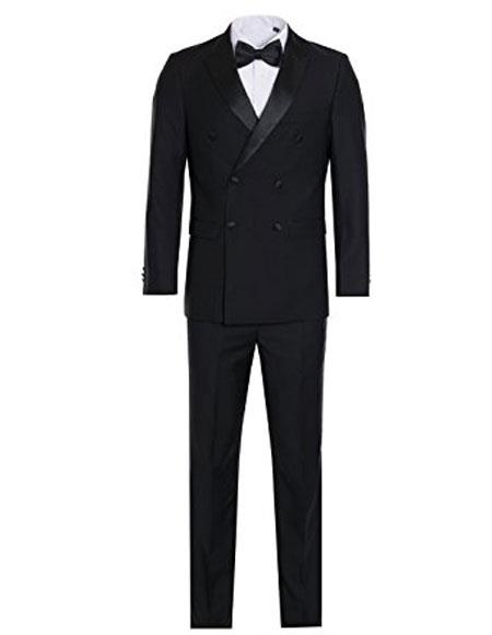 Mens Black Slim Fit Double breasted Tuxedo Flat Front Pants