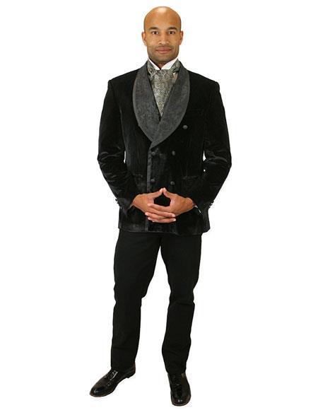 Men's tone-on-ton design black velvet caldwell smoking jacket