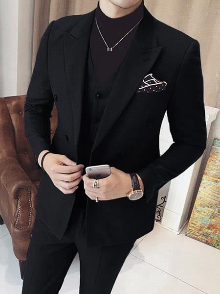 Black Mens Vested Double Breasted Suits 3 Piece
