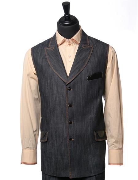 Men's Double Breasted Black Denim Vegan Leather Detail 2Pc Vest Casual Two Piece Walking Outfit For Sale Pant Sets Suit