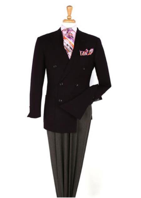 Men's 100% Wool Men's Double Breasted Suits Jacket Blazer Sportcoat Black Jacket