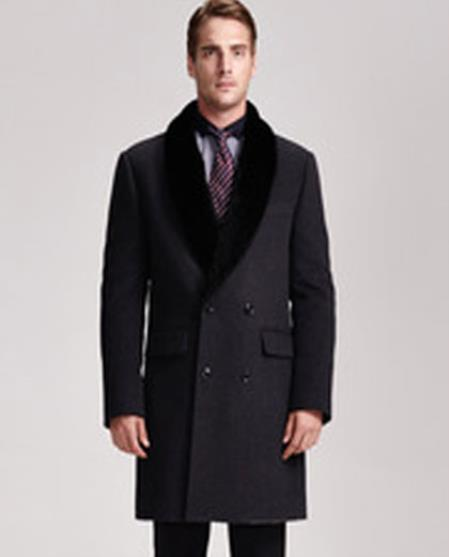 Men's Wool Suit Collar Double Breasted 4