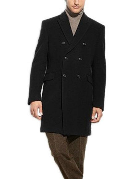 Mens Dress Coat Black Double Breasted 3/4 Length Wool Cashmere Blend Overcoat Top Coat