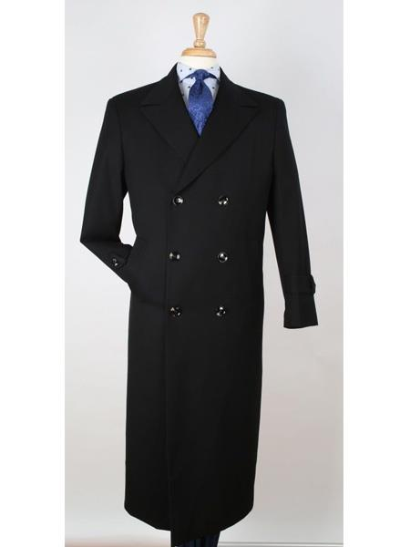 Mens Dress Coat 100% Wool Gabardine Double Breasted Black Top Overcoat