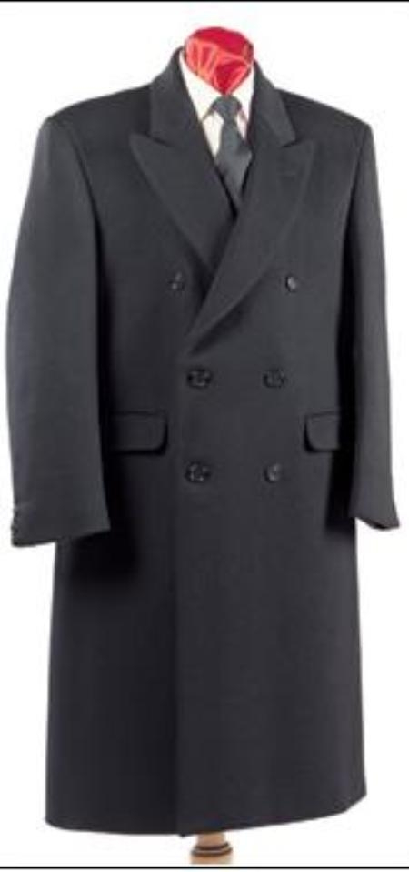 Men's Vintage Style Coats and Jackets Fully Lined Double Breasted Mens Wool Blend Long Overcoat  Topcoat full length Peacoat $199.00 AT vintagedancer.com