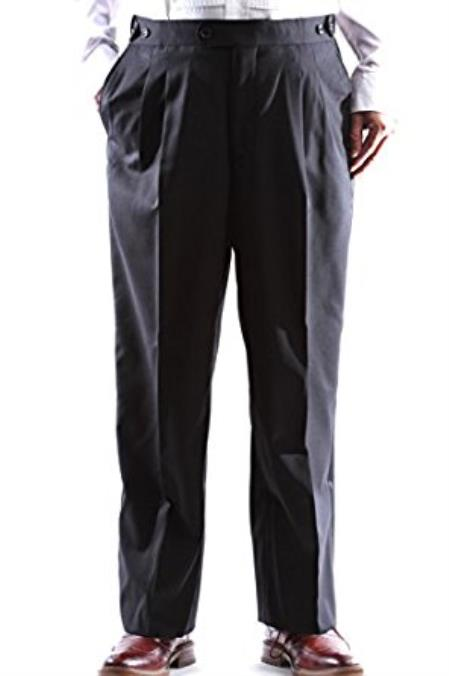 Mens Super 140s Black Stretch Wool Tuxedo Pants unhemmed unfinished bottom