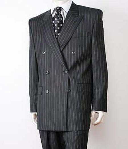 SKU# EC43 Black Pinstripe Double Breasted Super 140s Wool premier quality italian fabric Design