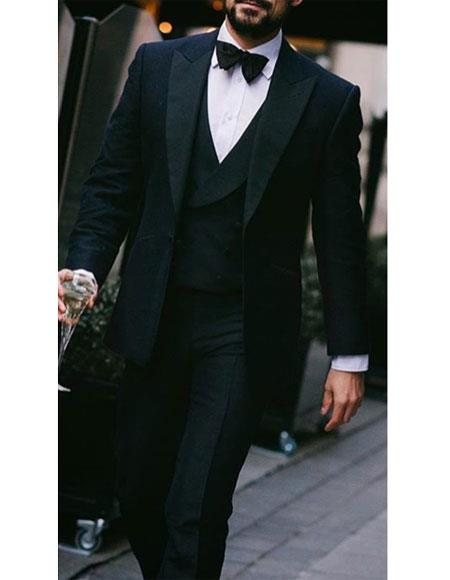 Alberto nardoni Peak lapel super 150s wool tuxedo with double breasted vest flat front pants 1 button style