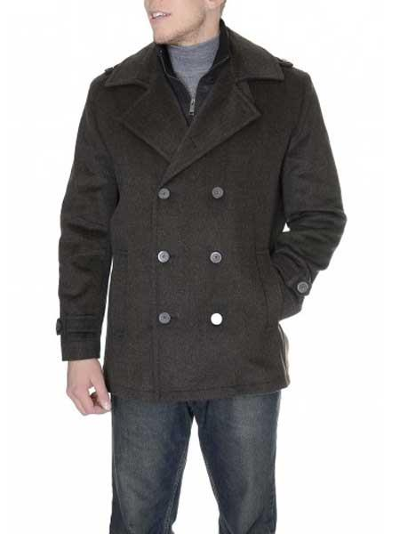 Mens Dress Coat Brown 6-On-3 Overcoat ~ Topcoat Tweed houndstooth checkered Pattern Double Breasted Herringbone Single Vent Peacoat