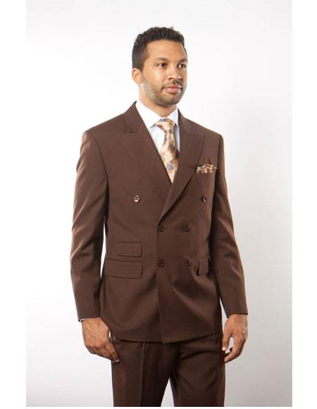 Buy GD1233 Men's Double Breasted Solid Pattern Brown Peak Lapel Button Closure Suit