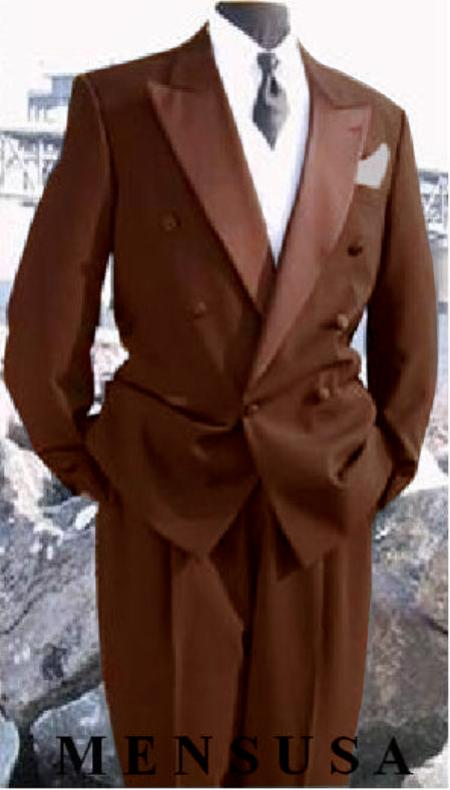 1950s Style Mens Suits | 50s Suits Mens Double Breasted Tuxedo SuitJacket  Pants wool fabric in Dark Brown Delivery 10 Days $595.00 AT vintagedancer.com