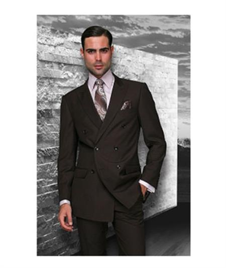 Statement Confidence Brown Double Breasted Mens Wool Italian Design Suit