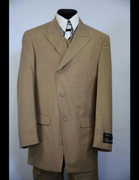 Mens double Breasted Wide Peak Lapel stripe brown zoot suit