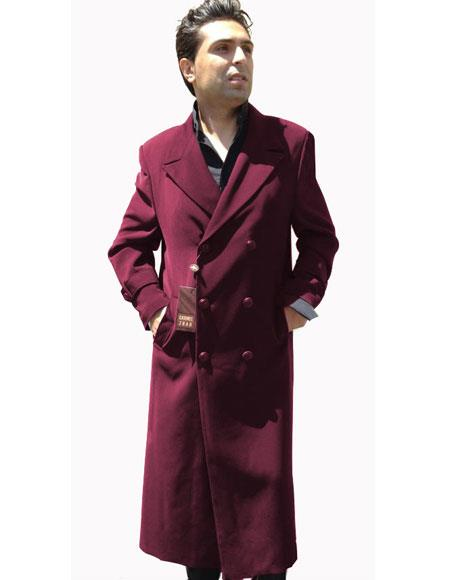 Buy CH1361 Mens Top Coat Buttons Closure Double Breasted Burgundy ~ Wine ~ Maroon Color Overcoat Pre order Coming November/28/2017