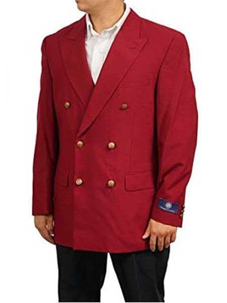 Mens Burgundy ~ Wine ~ Maroon Color Peak Lapel Classic Fit Double Breasted Sportscoat Blazer