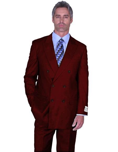 Men's Burgundy 3 Piece Modern Fit Burgundy Suit