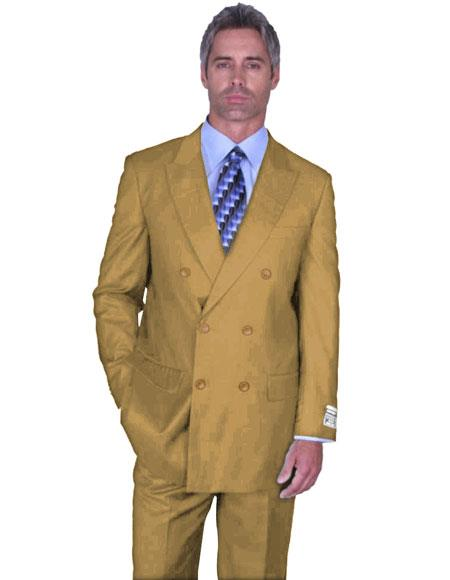 Men's Double Breasted Suits Peak Lapel Bronze ~ Camel ~ Khaki ~Suit Side Vented Pleated Pants Wool Fabric Bronze Color Alberto Nardoni Collection