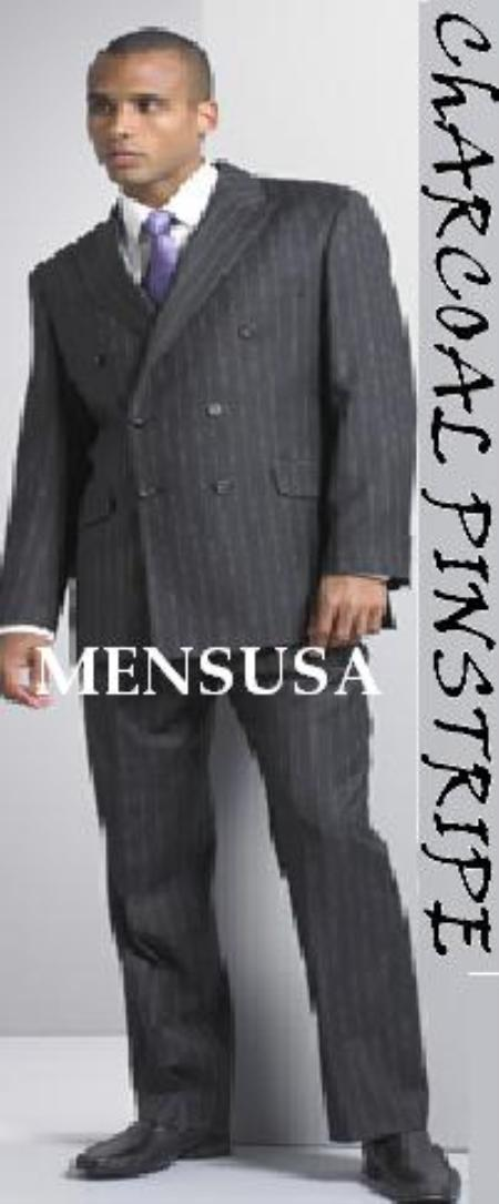Mens Charcoal Pinstripe Double