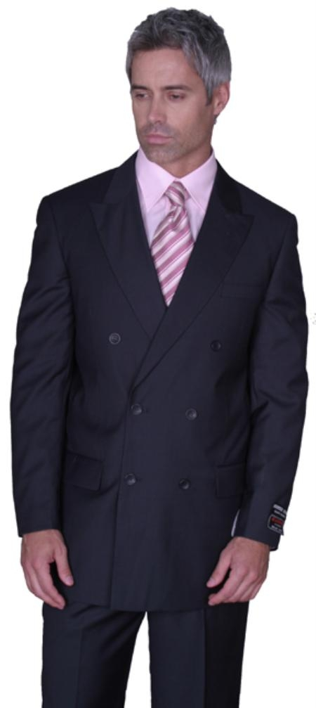 JPR27 SOILD CHARCOAL DOUBLE BREASTED WOOL SUIT HAND MADE