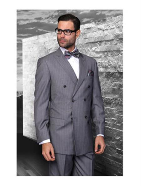 Statement Confidence Charcoal Grey Double Breasted Pinstripe Mens Wool Italian Design Suit - Color: Dark Grey Suit