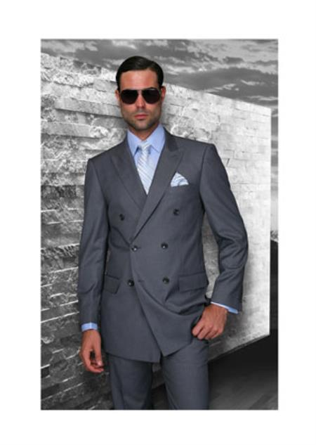 Statement Confidence Charcoal Grey Double Breasted Mens Wool Italian Design Suit