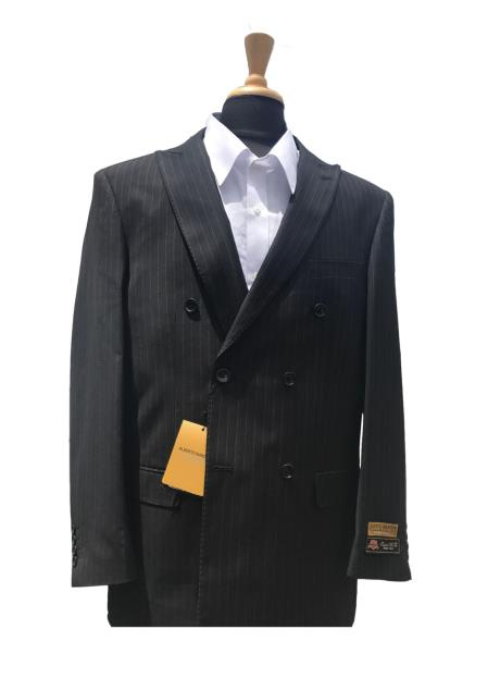DB1B Authentic Charcoal Mens Wool Pick Stitched Lapel Double Breasted Pinstripe Blazer Sport Coat Jacket