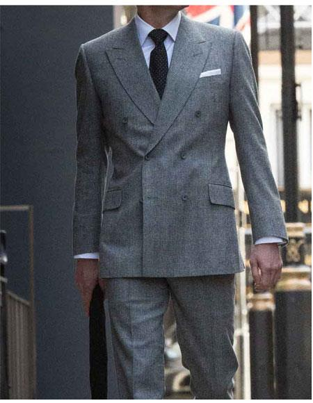 Mens Colin Firth Dark Grey Double Breasted Button Closure Suit