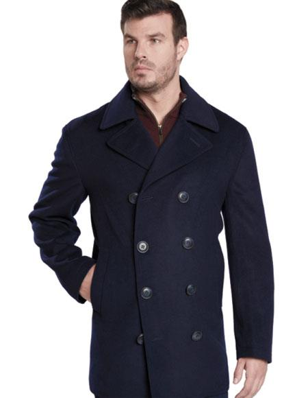 Mens Dress Coat Dark Navy Double Breasted Peak Lapel Overcoat