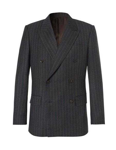kingsman chalk-striped Double Breasted Wool eggsy charcoal suit
