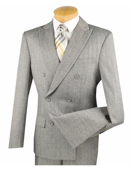1930s Style Mens Suits Mens Gray Shadow Mini Stripe Conservative Pattern Double Breasted Slim Fit Suit $139.00 AT vintagedancer.com