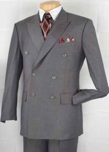 Mens Double Breasted Suit Heather Gray Pleated or Flat Front Pants