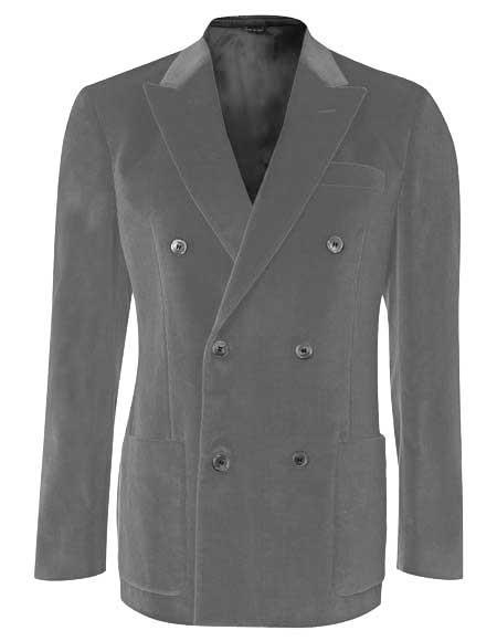 Men's 6 Buttons Double Breasted Gray Solid Velvet Blazer Sport Coat - Jacket