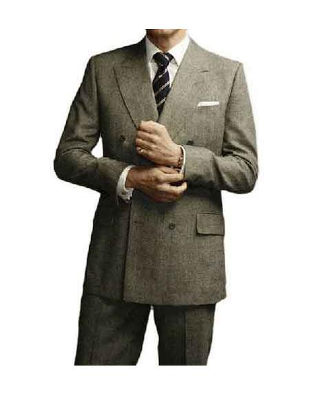 Buy GD1143 Men's Colin Firth Kingsman Double Breasted Grey Peak Lapel Button Closure Suit