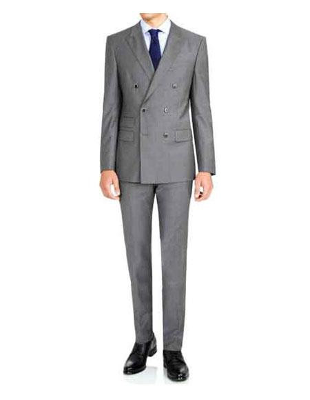 Buy GD1144 Men's Colin Firth Kingsman Grey Double Breasted Button Closure Dual Waist Pocket Suit