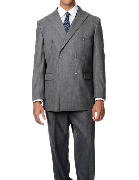 Buy GD1335 Caravelli Men's Double Breasted Grey Button Closure Peak Lapel Double Vent Suit