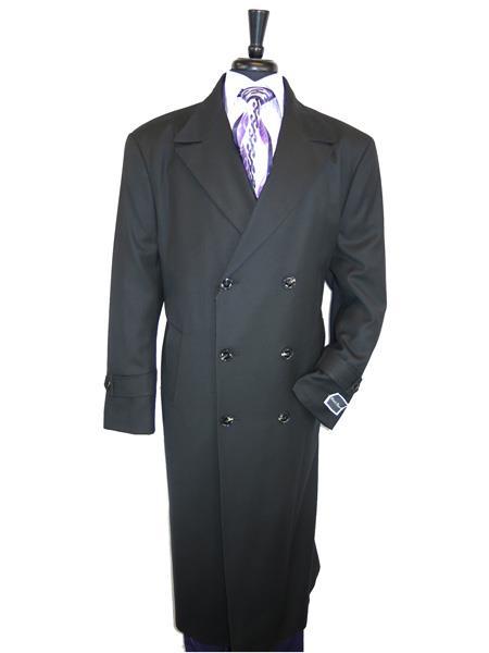 Mens Dress Coat Double Breasted 100% Wool  Jet Black Overcoat