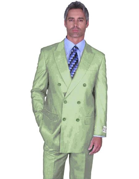 Men's Light Green ~ Sage Dark Mint Double Breasted Peak Lapel Suit Side Vented Side Vented