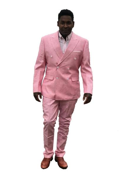 Mens Double Breasted Summer Linen Suit in Pink
