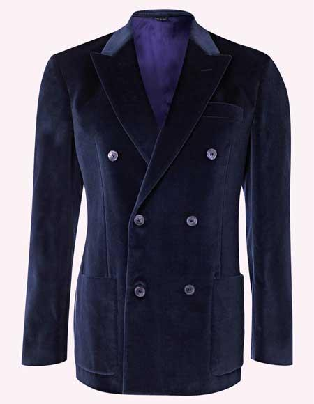 Mens Double Breasted 6 Buttons velour Jacket