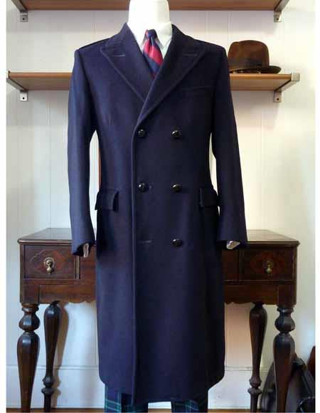 Mens Long Double Breasted Navy Blue Overcoat Wool Topcoat