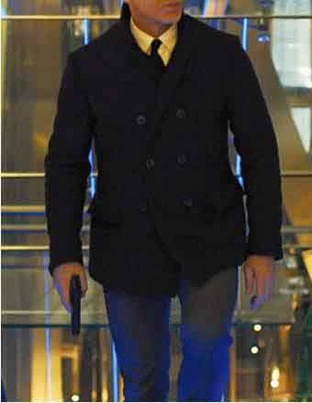 Mens Daniel Craig James Bond Cheap Priced Menswear Double Breasted Navy Blue Button Closure Peacoat