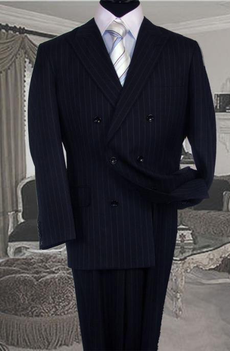 Mens Double Breasted Color Navy Blue Suit With Side Vent