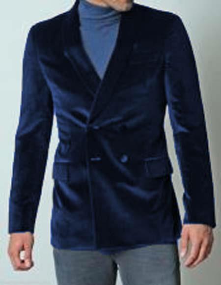 Mens Dark Navy Blue Double Breasted Dinner Jacket Casual Velvet Fabric Sport Coat Jacket Blazer Tuxedo